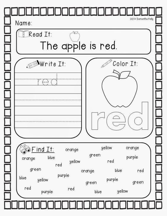TONS of activities for the colors red yellow blue green orange – Color Word Worksheets for Kindergarten