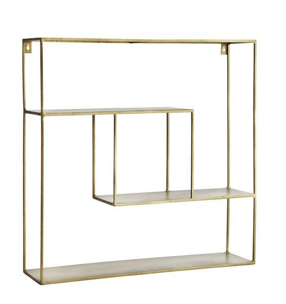Wandregal aus Metall im Gold-/Messingfarbton Höhe 51 cm Breite 61 cm Farbe: Gold/Messing