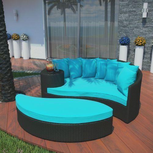 Outdoor Patio Furniture Daybed Ottoman Garden Rattan Sunroom Yard Pool Home Set #OutdoorPatioFurniture