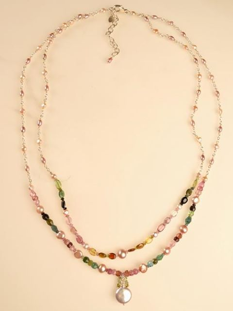 Tourmaline and pearl necklace by Harmony Scott Jewelry Design