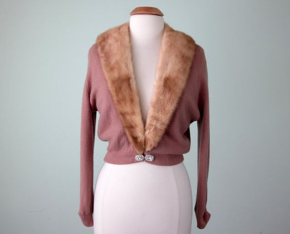 50s sweater / rose cashmere fur collar knit by SallyJaneVintage
