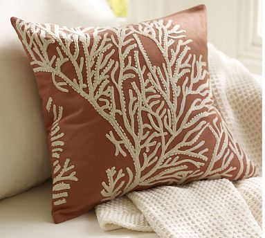 Coral Embroidered Pillow Cover