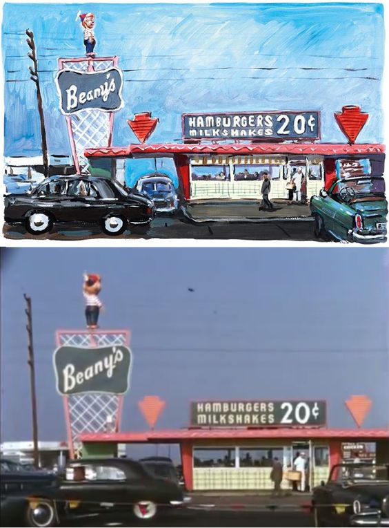 Circa 1952 home movie of Beany's Drive-In in Long Beach, California