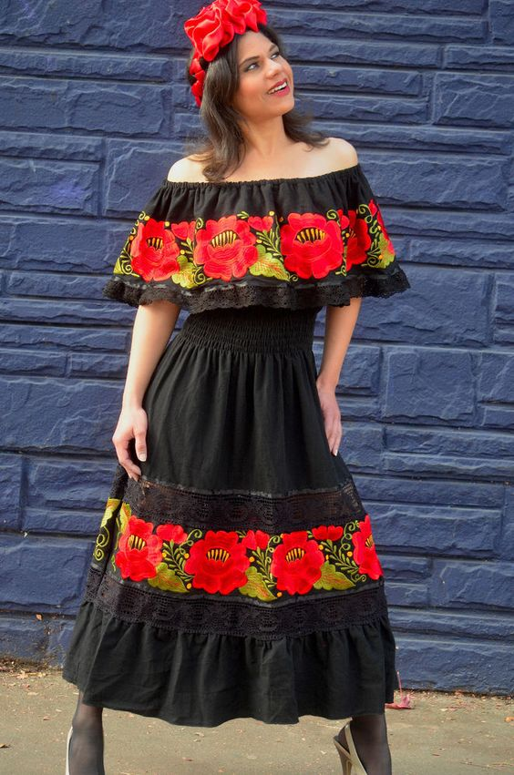 Gorgeous L Red Embroidered Off Shoulders Mexican Dress Black Lace Crochet #HandmadeGVGloriaVidal #Blouse #Casual