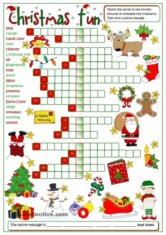 christmas fun crossword english pinterest. Black Bedroom Furniture Sets. Home Design Ideas