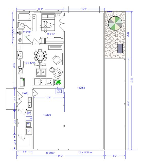 Shops with living quarters floor plans floorplan Garage with living quarters floor plans