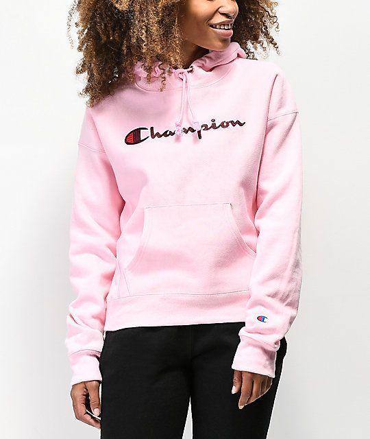pink champion hoodie