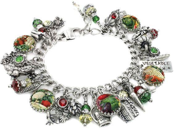 Vegetable Garden, Garden Jewelry, Garden Bracelet, Vegetable Charm Bracelet - Blackberry Designs Jewelry