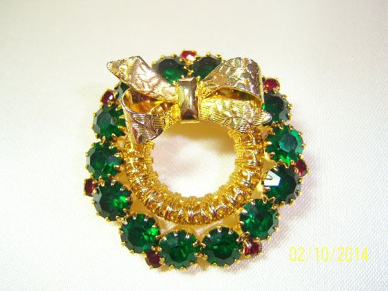 SALE Vintage Faceted Green Crystals and Gold by CalicoCandys