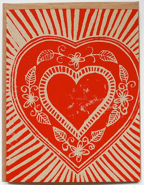Single Hand Block Printed Valentine Card by Katharine Watson