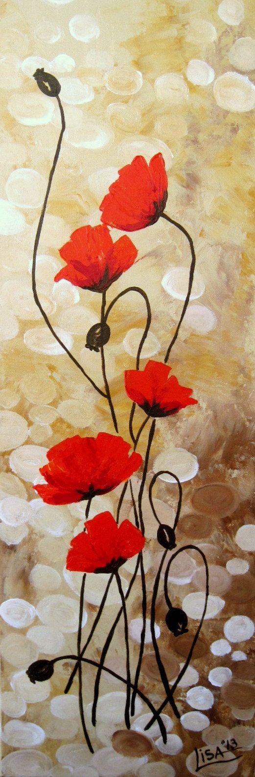 Original Acrylbild Roter Mohn Blumen-Felder von ArtonlineGallery