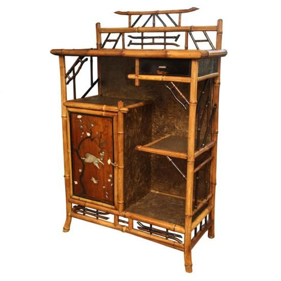 19th Century English Bamboo Etagere Oriental