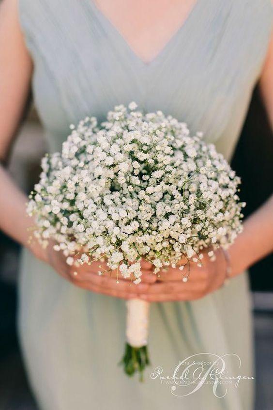 charming baby's breath wedding bouquet ideas: