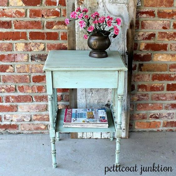 Paint color is Eulalie's Sky, Miss Mustard Seed's Milk Paint and I used a toner to give an antiqued look to the paint.