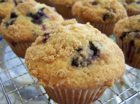"""Blueberry Crumb Muffins from Food.com:   As soon as I saw this title, I just knew it was something I'd have to make.   And......it's everything I though it would be.  Moist and flavourful,  with a wonderful 'crumb' topping.  I found it on """"a pinch of sugar"""" recipe blog.  The writer - Jen T - mentions that she adapted it from a 'Dorie Greenspan' recipe"""