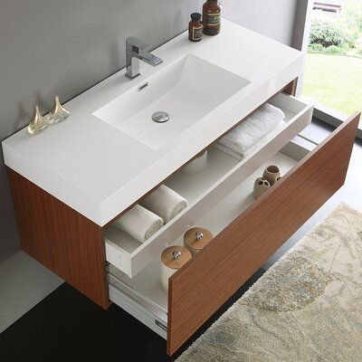 Fresca Mezzo 47 Wall Mounted Single Bathroom Vanity Set Modern Bathroom Vanity Single Bathroom Vanity Bathroom Furniture