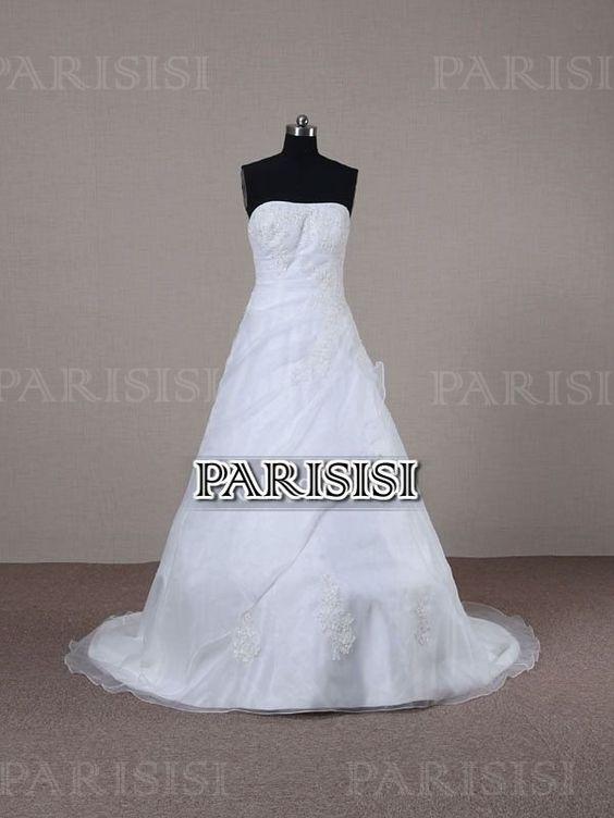 Corte A Sin tirantes Tren Cepillo Blanco vestidos de novia