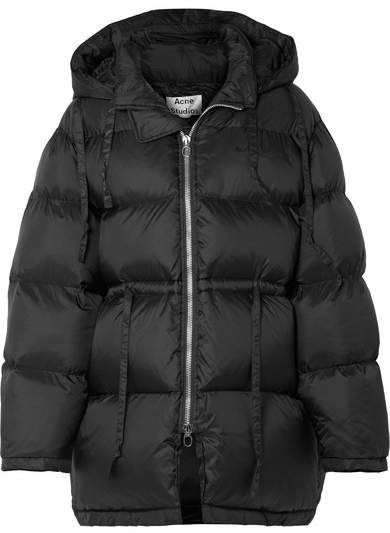 Black Oversized Hooded Quilted Shell Down Jacket Acne Studios