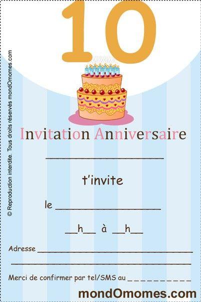 Modèle Invitation Anniversaire 10 Ans Garçon