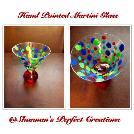 Hand painted martini glass