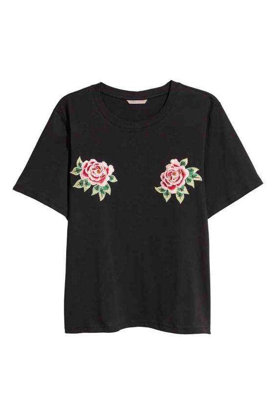 H&M+ T-shirt avec applications - Noir/fleuri - FEMME | H&M FR 1
