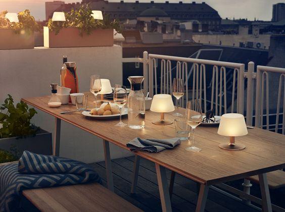 Terrasse ville vue toit soir repas lampes id es d co pinterest d co - Deco de terrasse ...