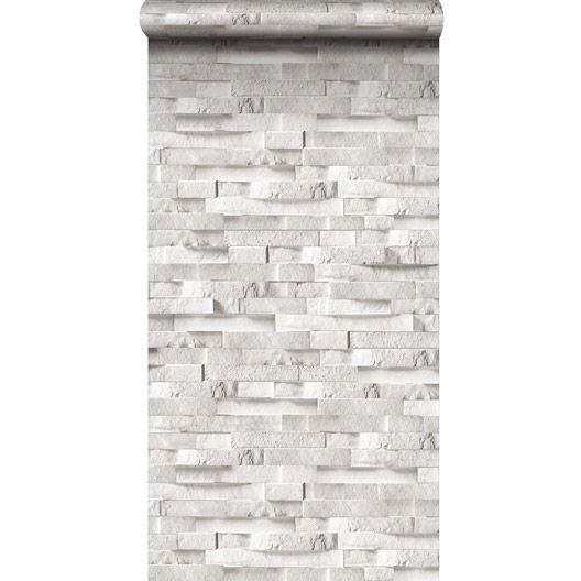 Papier peint sur intiss inspire craie briquettes blanc larg m papi - Papier peint briquette ...