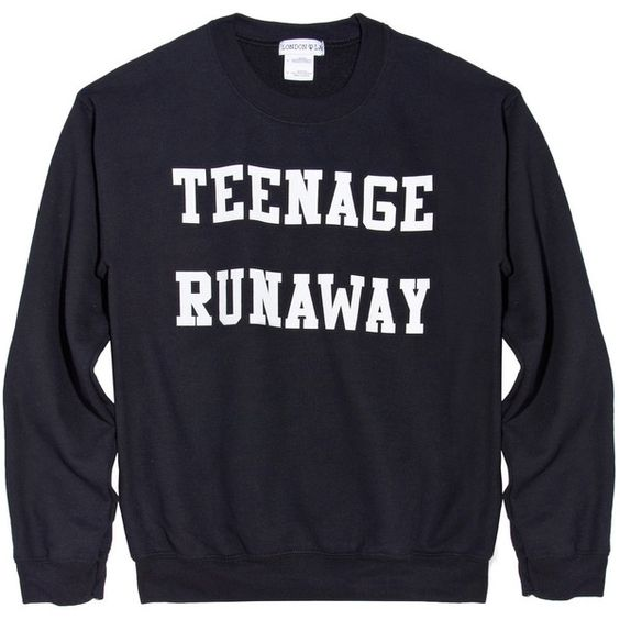 Teenage Runaway Sweatshirt (Black) (€39) ❤ liked on Polyvore featuring tops, hoodies, sweatshirts, sweaters, shirts, black sweatshirt, unisex shirts, unisex tops, black top en black shirt