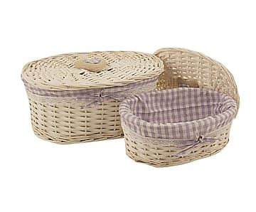 Set de 2 cestas de mimbre y tela Quadretti - blanco y lila