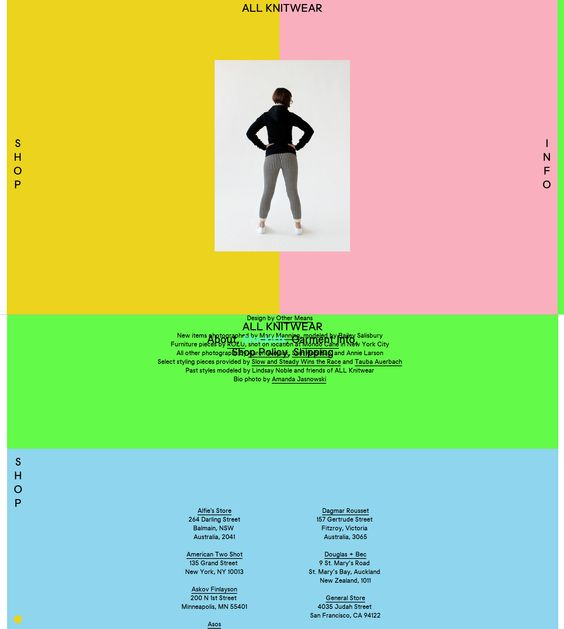 all knitwear website. rollover actions. one homepage you click either the left or right titles to move horizontally to the shop or move to information. The information is divided into different color rectangles with simple sans-serif text and images.