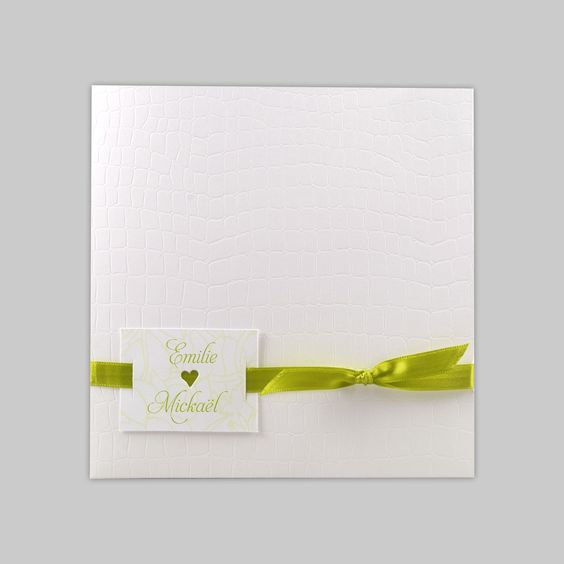 Faire-part mariage original et créatif : Croco blanc & ruban anis ...
