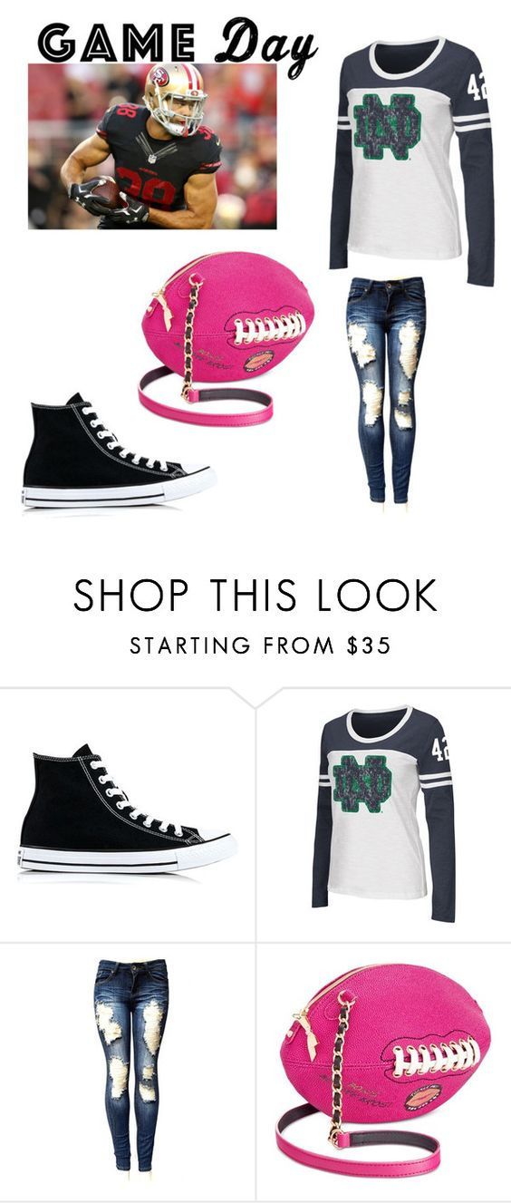 """football"" by fashionplanet01 ❤ liked on Polyvore featuring Converse, Campus Heritage and Betsey Johnson"