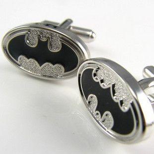 New Silver Polish Pure Metal Oval Batman Wedding Cufflinks