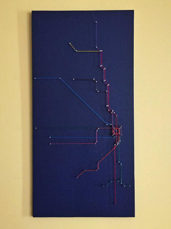 "Chicago CTA ""L"" String Art"