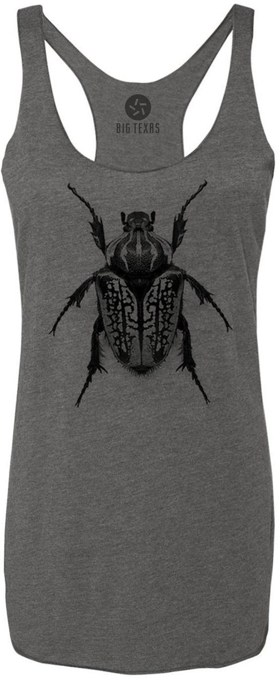 Oversize Beetle (Black) Tri-Blend Racerback Tank-Top