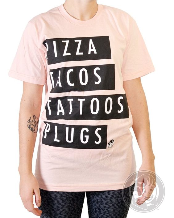 Pizza, Tacos, Tattoos, Plugs Salmon Unisex Tee