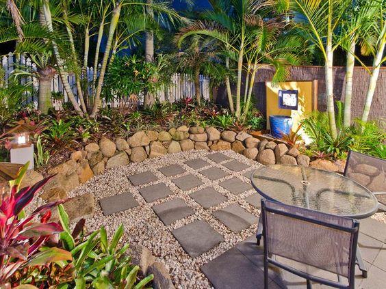 tropical garden, pavers & pebbles