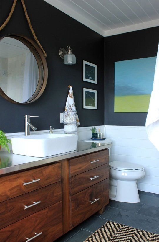 Main Bathroom Makeover Inspiration One Room Challenge Wood Vanity Navy Walls And Style
