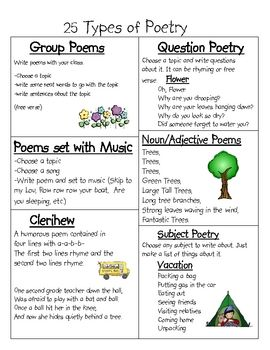 25 Types of Poetry- great list!! I might use this as a literacy ...