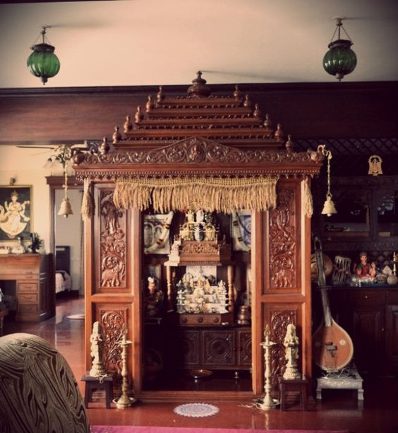 South Indian Kitchen Interior Design: A Traditional South Indian Home With A Beautifully Craved Temple