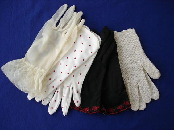 Ladies Gloves Four Pair Black White Polka by hannahelizabeth1850, $8.50