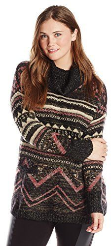 Lucky Brand Women's Plus-Size Graphic Cowl Pullover Sweater