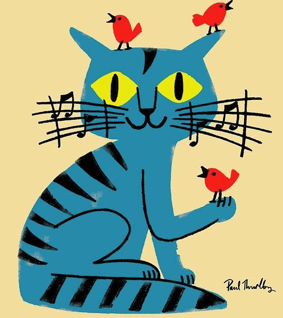 Paul Thurlby music cat birds illustration: