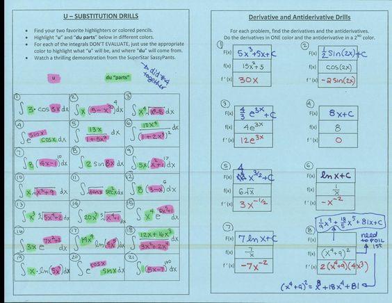 USubstitution Drills highlight the u and du ad Derivative – U Substitution Worksheet