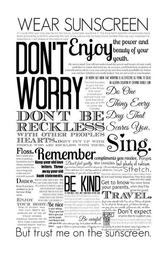 Wear Sunscreen Quote Print, Poster, Black and White or Color, Home Decor, wall decoration on Etsy, $28.96 CAD