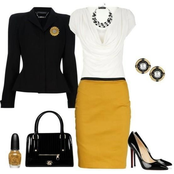 I have the Mustard skirt; i need ideas to match this skirt w/royal blue JS pumps.