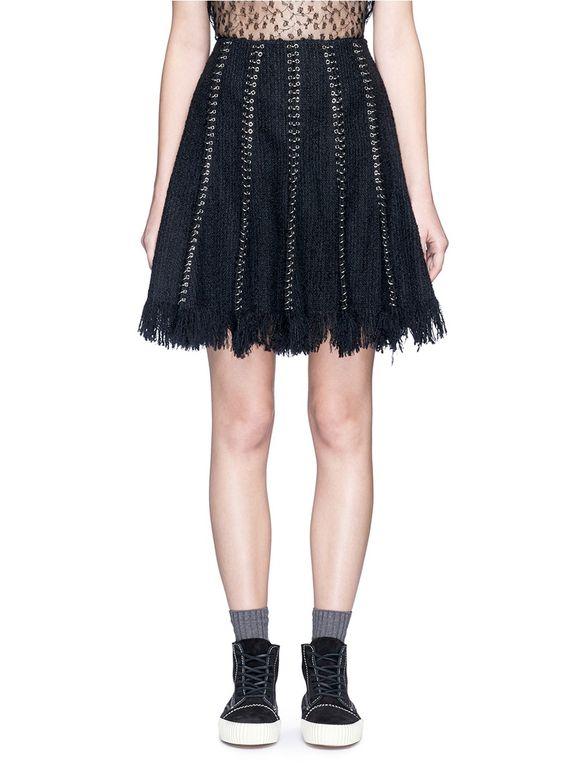 ALEXANDER WANG Pierced eyelet fringe tweed skirt. #alexanderwang #cloth #skirt