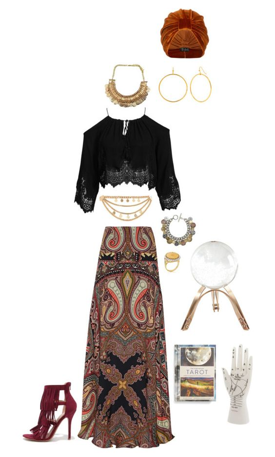 """""""DIY: Fortune Teller, Halloween Costume"""" by emmarussell84 ❤ liked on Polyvore featuring Etro, Kiss The Sky, Trina Turk LA, The Future Heirlooms Boutique, River Island, Jenny Bird, Liberty Legacy, Global Views, Chronicle Books and Wild Diva"""