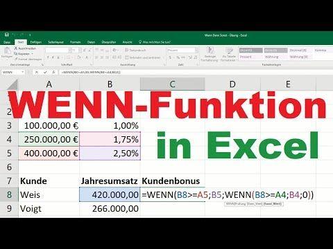 Excel Wenn Funktion Wenn Dann Funktion Verschachtelt Mehrere Bedingungen Formel Sonst Youtube In 2020 Lernen Merken Mehrere