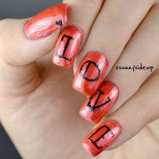 ssunnysideup: LOVE nails tattoo letters golden rose